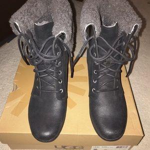 ✨UGG✨  Size US 8 Women's. Black leather Heel Boots